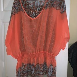 INVESTMENTS II - coral blouse with paisley tank XL